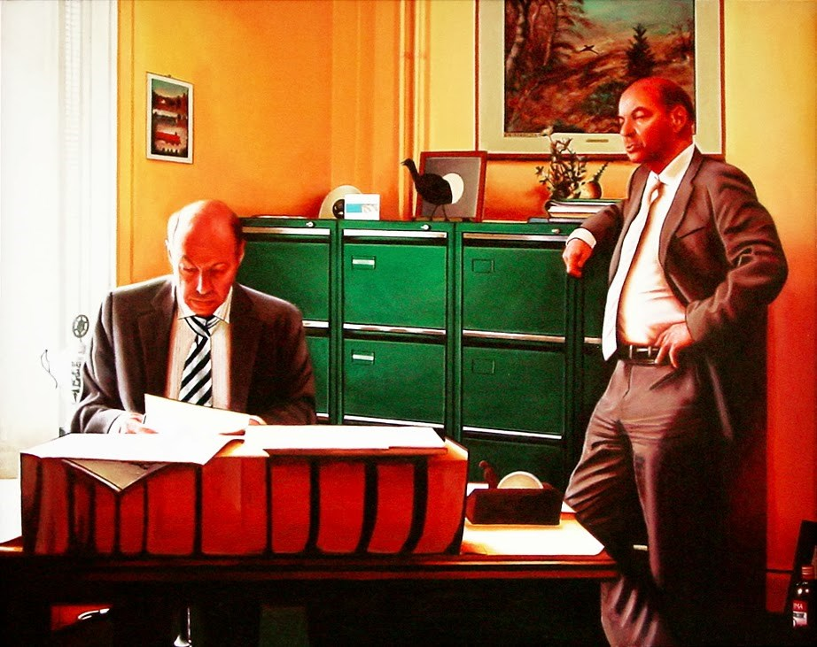"""""""Office- Painting Of Two Lawyers In Their Office"""" original fine art by Gerard Boersma"""