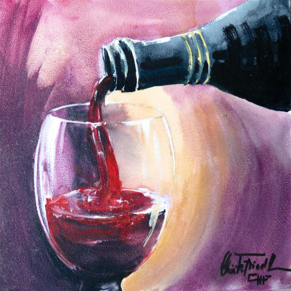 """Wine Tasting V"" original fine art by Christa Friedl"