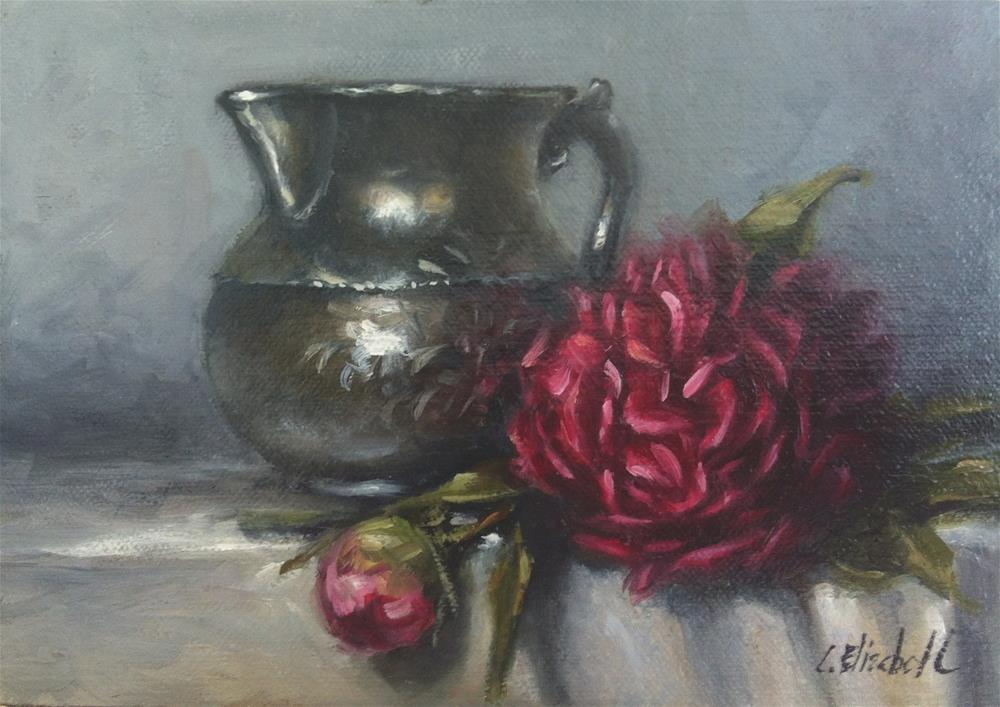 """Still Life withDark Pink Peonies and Pewter Pitcher,  Oil on 5x7 Linen Panel"" original fine art by Carolina Elizabeth"