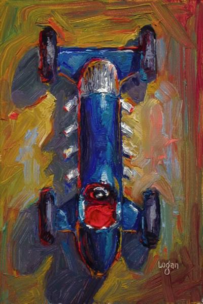 """Toy Roadster Blue"" original fine art by Raymond Logan"