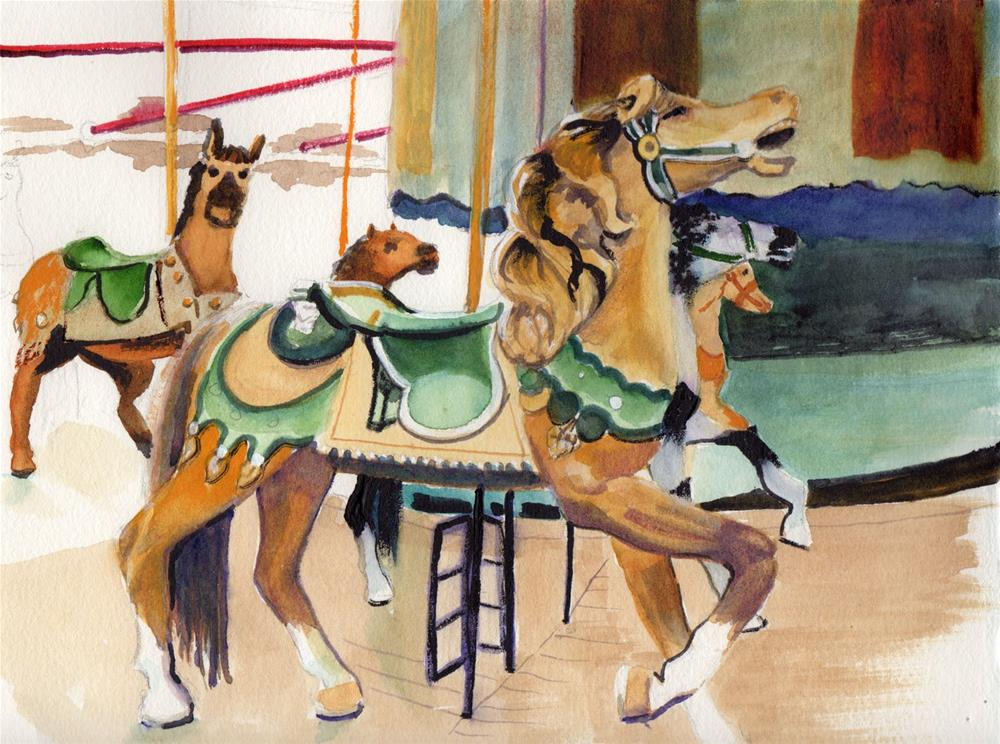 """""""Carousel Horses"""" original fine art by Bunny Griffeth"""
