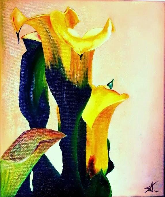 """Yellow Callas"" original fine art by Konstantia Karletsa"