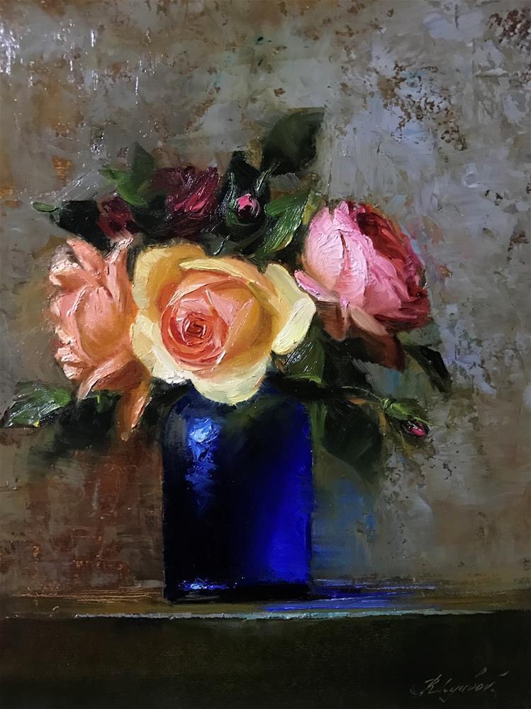 """Arrangment in a blue glass"" original fine art by Regina Lyubovnaya"