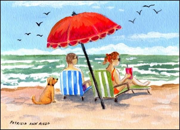 """""""Beach Chairs"""" original fine art by Patricia Ann Rizzo"""