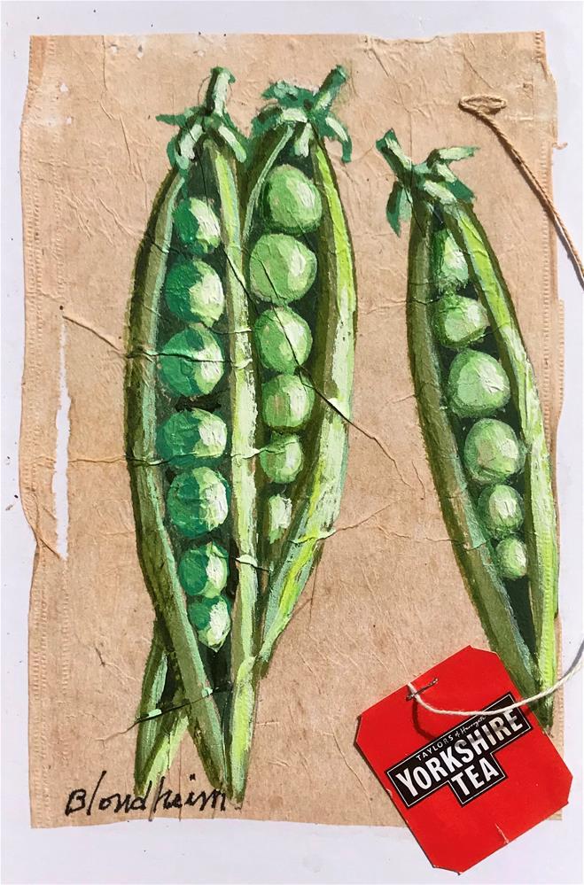 """Tea Bag Painting Pea Pods"" original fine art by Linda Blondheim"