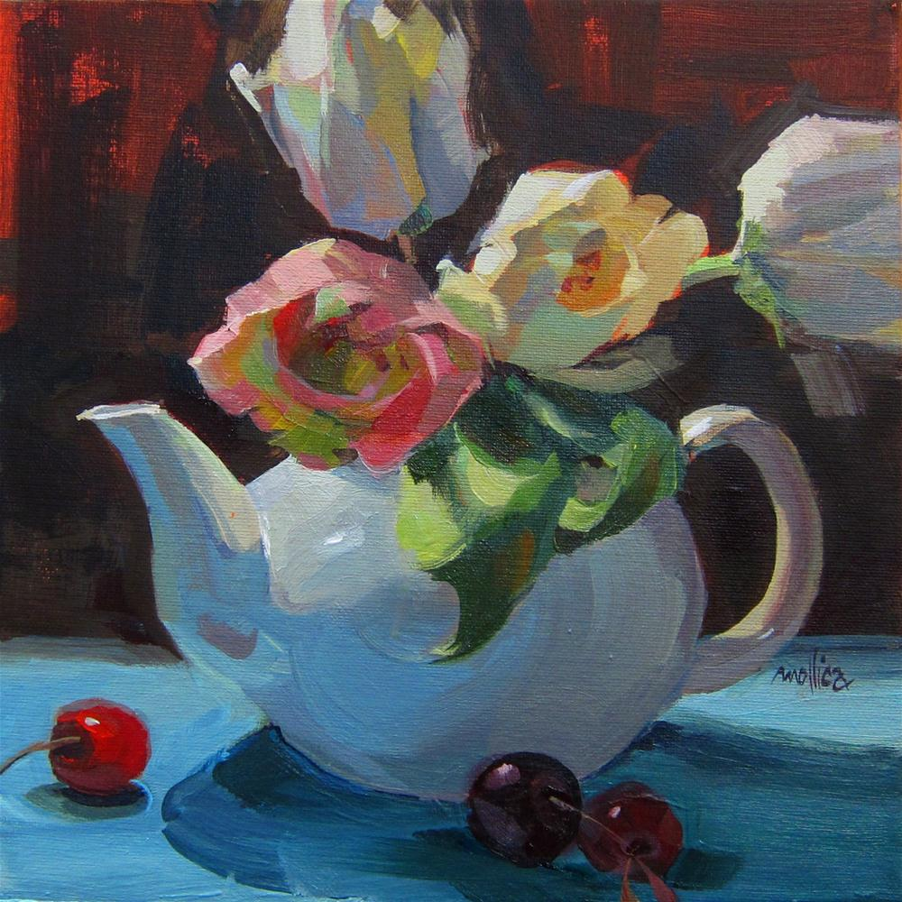 """Coffee, Tea or Tulips?"" original fine art by Patti Mollica"