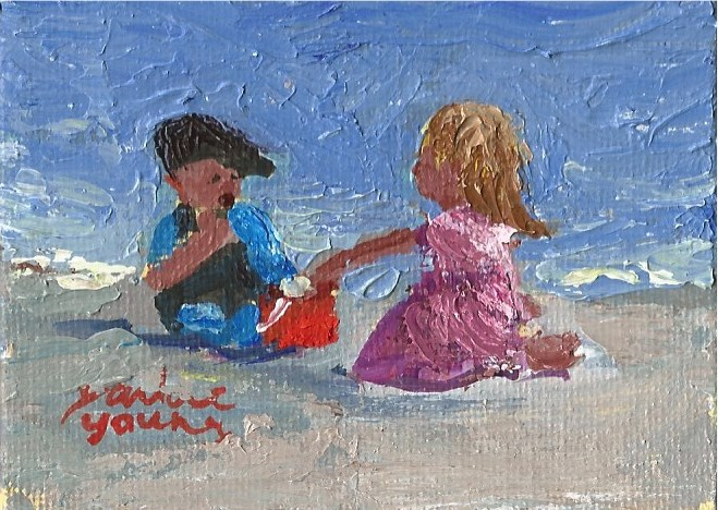 """938 Beach Kids, 2.5x3.5, miniature, oil on board"" original fine art by Darlene Young"