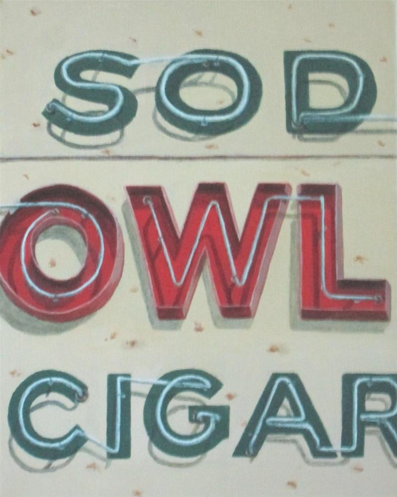 """Owl Cigar"" original fine art by Debbie Shirley"