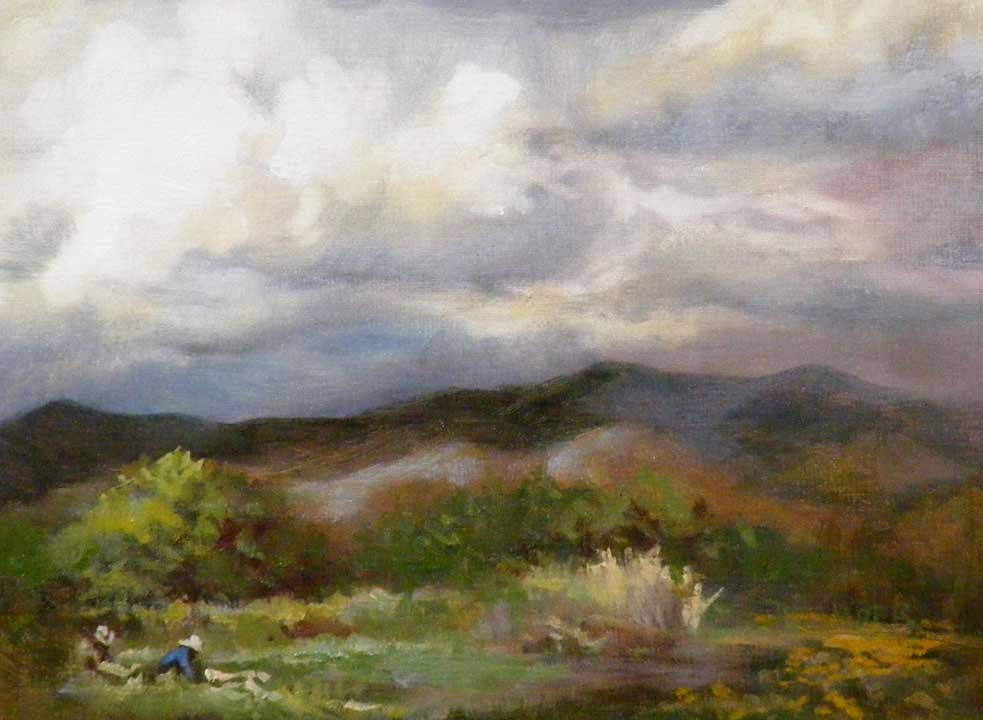 """The Harvest,Landscape,Oil on Canvas,6x8,price$95."" original fine art by Diana Delander"