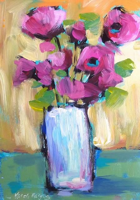 """Pink Flowers in White Vase Acrylic Painting"" original fine art by Karen Margulis"