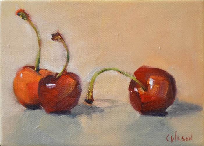 """Cherries Two and One"" original fine art by Cheryl Wilson"