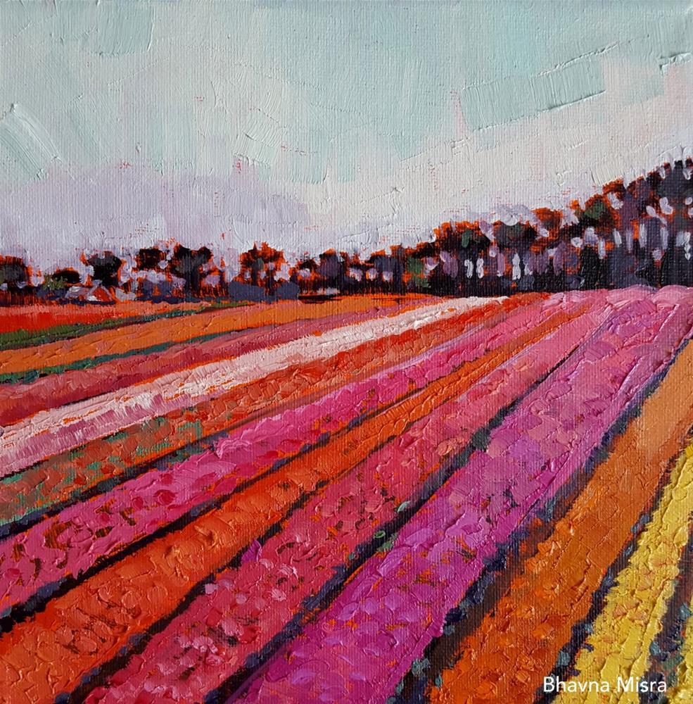 """Tulips Rows"" original fine art by Bhavna Misra"