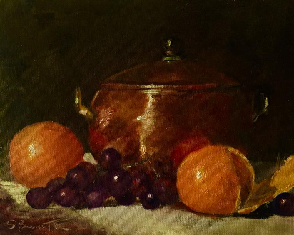 """Fruit and Copper Pot"" original fine art by Sherri Burritt"