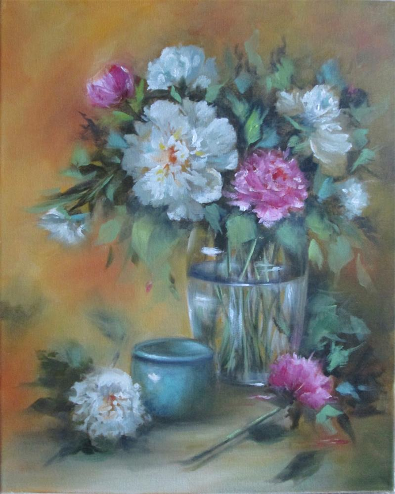 """""""Peonies - Pink and White"""" original fine art by Barbara Wagner"""
