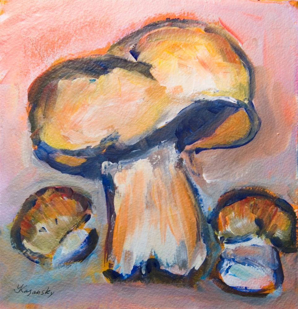 """Three Bolitas Mushrooms"" original fine art by Yulia Kazansky"