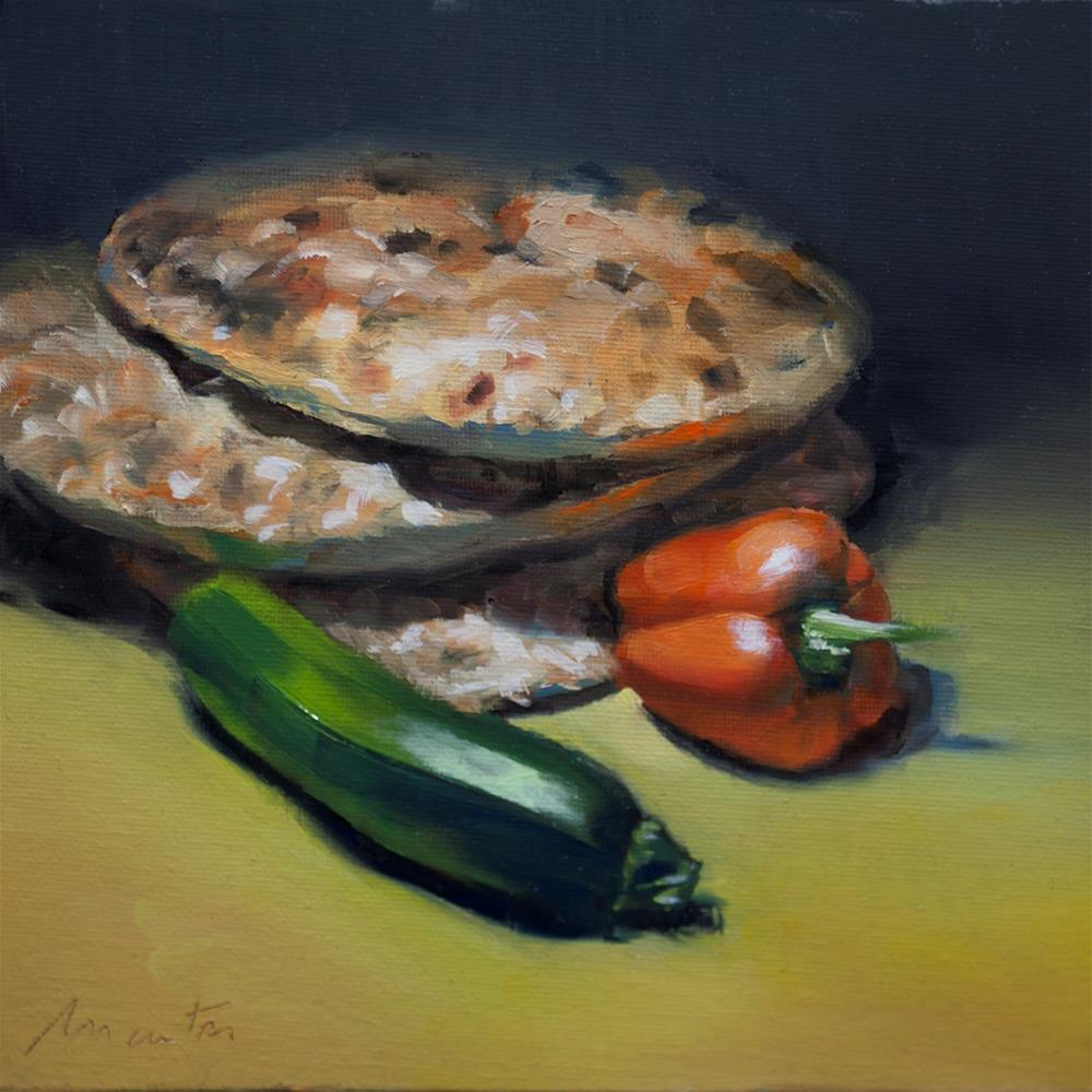 """""""Courgette and Morrocan bread"""" original fine art by Thierry Monter"""