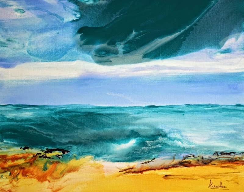 """Fluid Contemporary Landscape Painting Whispering Waves by Contemporary International Artist Arrach"" original fine art by Arrachme Art"