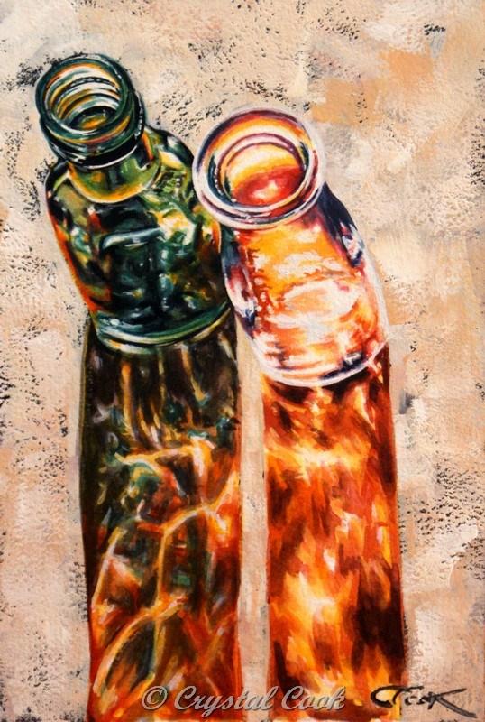 """Bird's Eye Bottles"" original fine art by Crystal Cook"