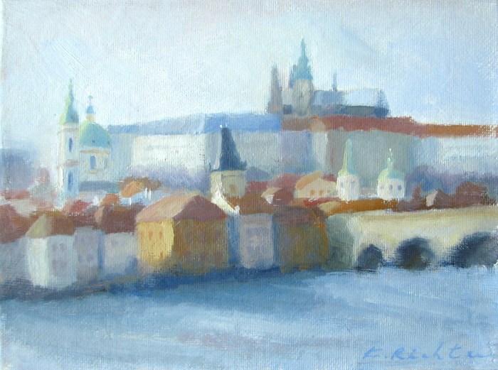 """""""Winter Afternoon, Prague"""" original fine art by Keiko Richter"""