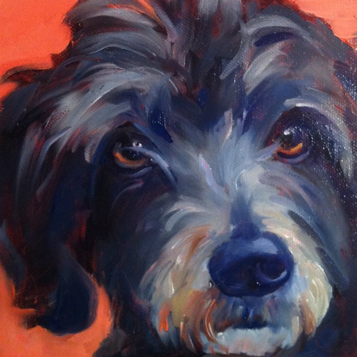 """""""The Best Dog in the World #7, oil on ray mar, 6x6"""" original fine art by Darlene Young"""