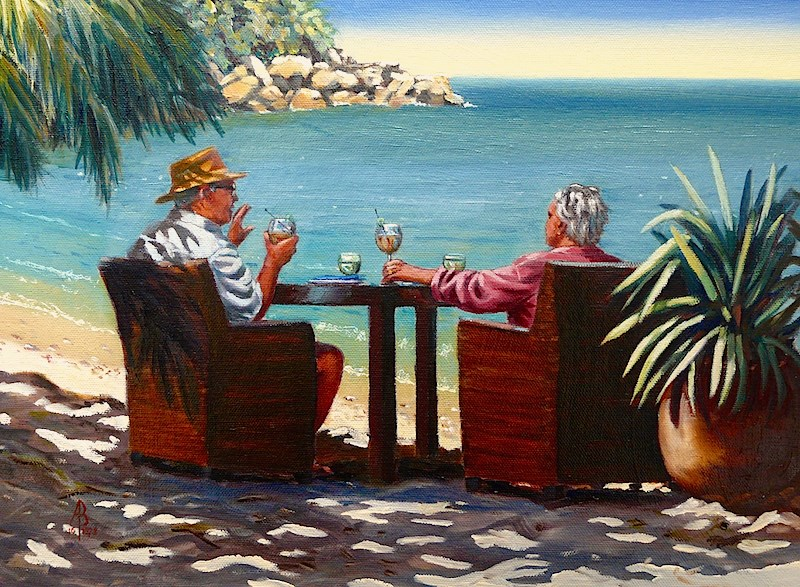 """Sundowners"" original fine art by Alix Baker PCAFAS AUA"