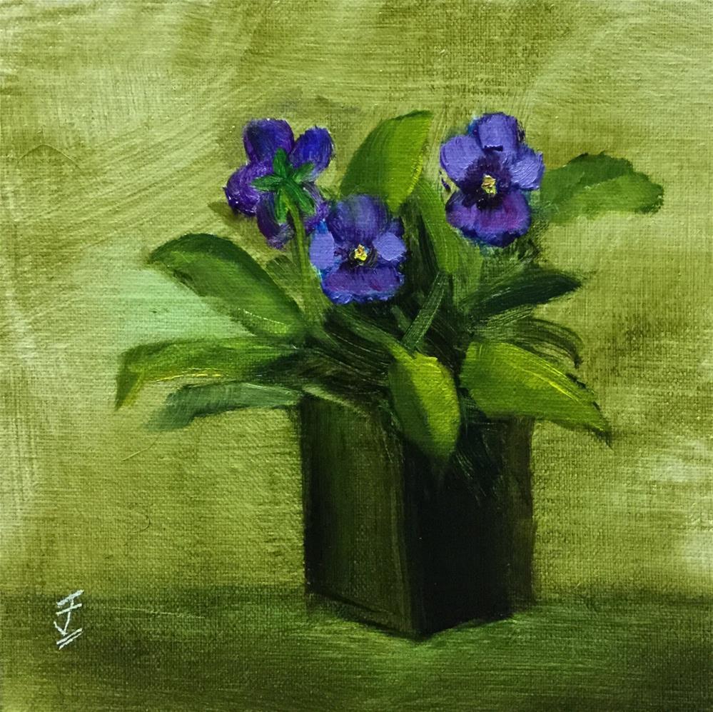 """Mini Pansies"" original fine art by Jane Frederick"