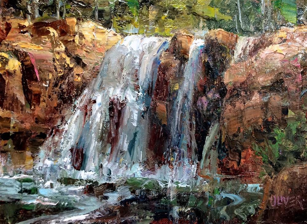 """Afternoon Light On The Falls"" original fine art by Julie Ford Oliver"