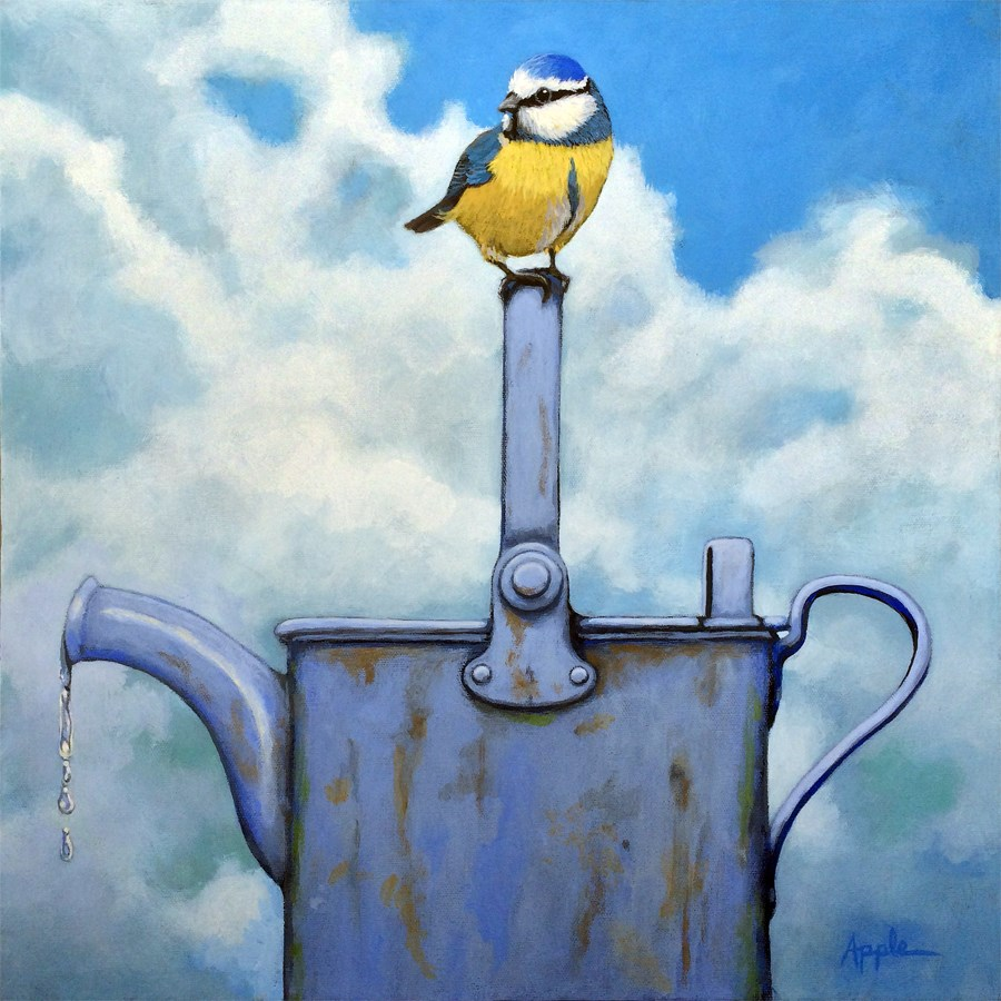 """Cute Blue-Tit realistic bird portrait on antique watering can"" original fine art by Linda Apple"