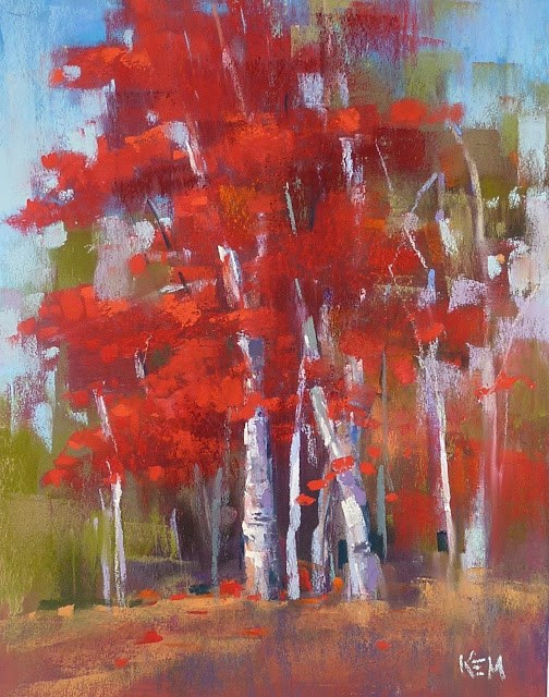"""""""Painting the Colors of Fall....RED part one"""" original fine art by Karen Margulis"""