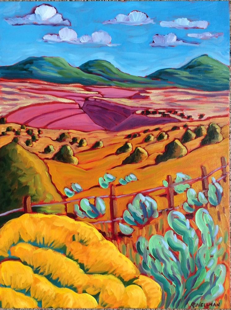 """Chamisa and Rio Grande Gorge"" original fine art by Robyn Wellman"