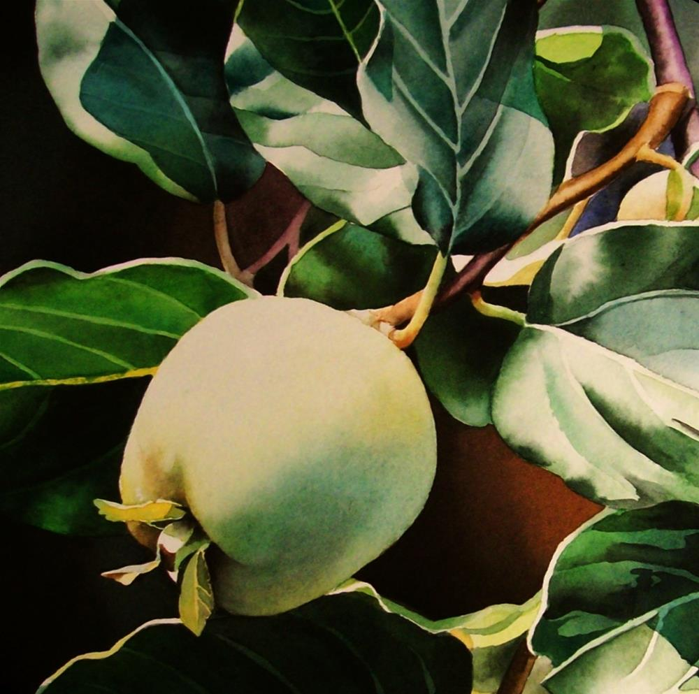 """Green Apple & Last week to enter"" original fine art by Jacqueline Gnott, TWSA, WHS"