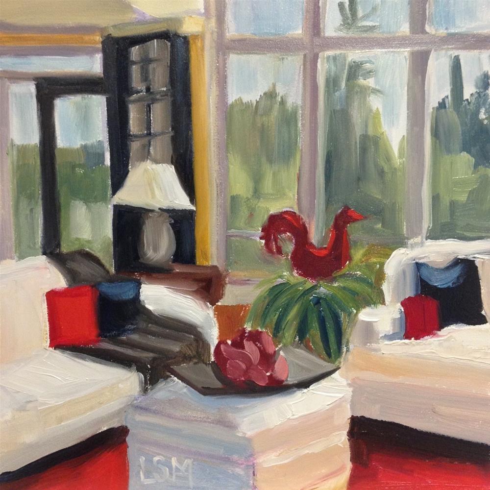 """Rooster in Sun Room"" original fine art by Linda Marino"