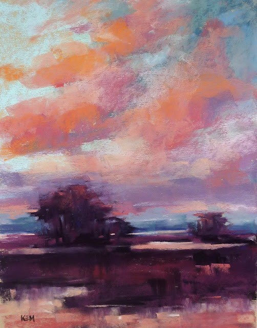 """Pastel Demo with NO Underpainting Marsh Sunset"" original fine art by Karen Margulis"
