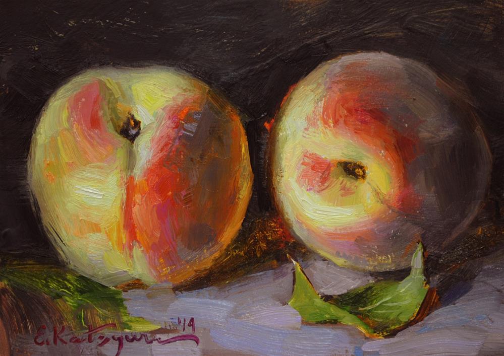 """Two Peaches"" original fine art by Elena Katsyura"