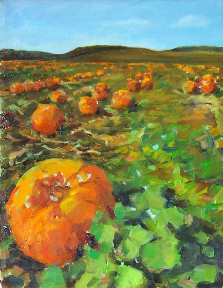 """Pumpkin Patch,landscape,oil on canvas,14X11,price$700"" original fine art by Joy Olney"