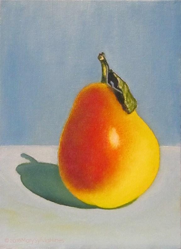 """Pear 01"" original fine art by Mary Sylvia Hines"