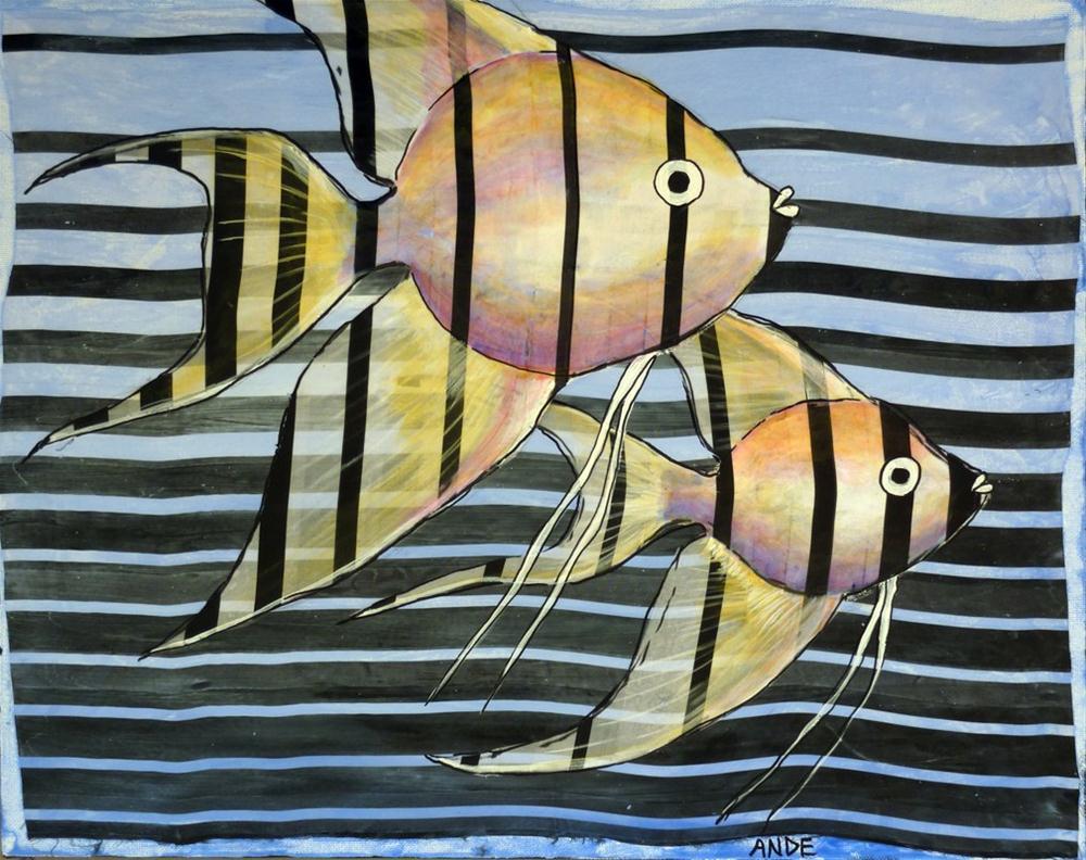 """Angelfish Aligned"" original fine art by Ande Hall"