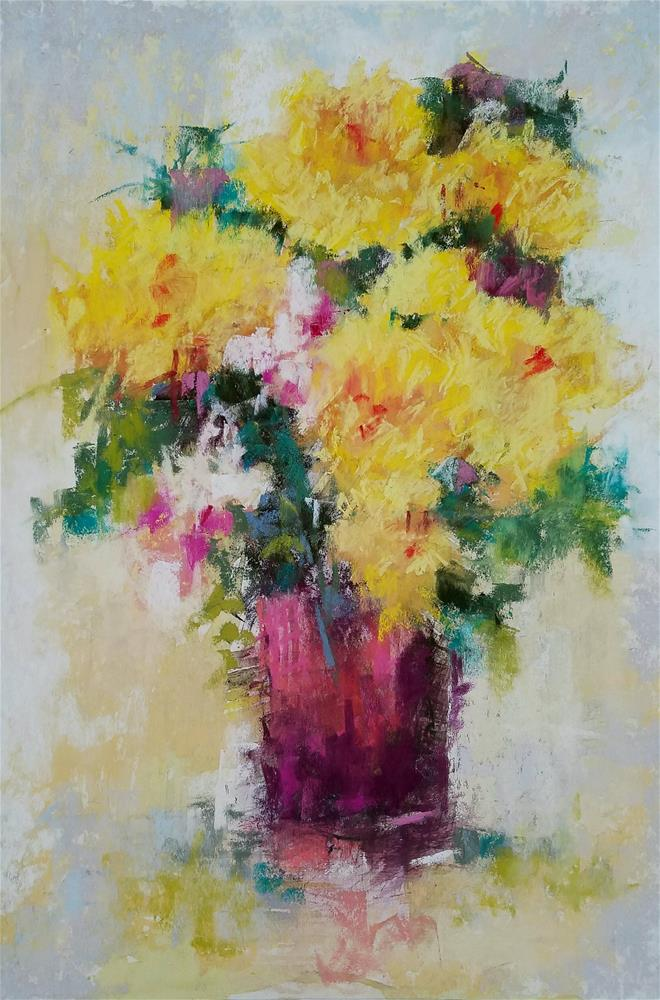 """""""Yellow and Pink Floral"""" original fine art by Cindy Haase"""