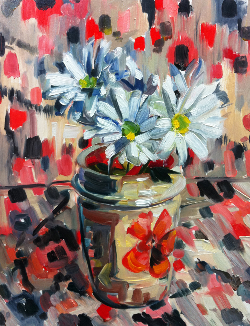 """""""Daisies and Ceramic Cup"""" original fine art by Katy O'Connor"""