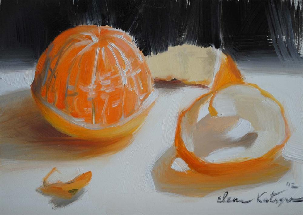 """Peeled Tangerine"" original fine art by Elena Katsyura"