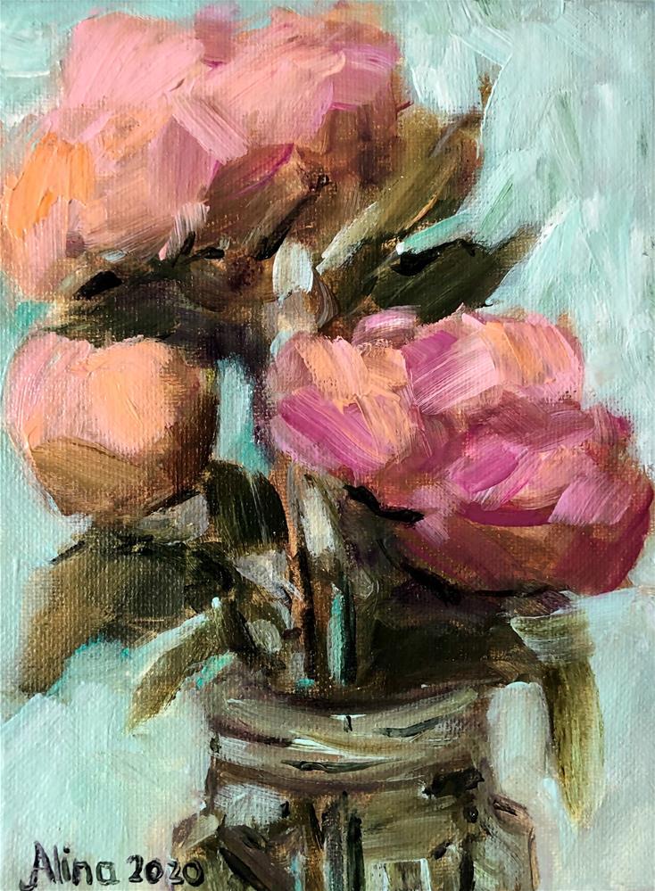 """""""Peonies"""" original fine art by Alina Vidulescu"""