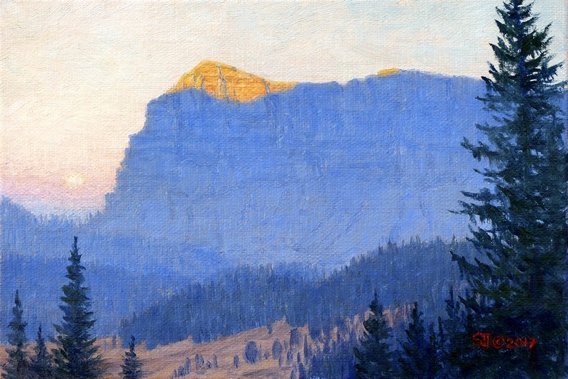 """C1639 ""Moonset at Dawn"" (Brooks Mountain, Absaroka Range, Wyoming)"" original fine art by Steven Thor Johanneson"