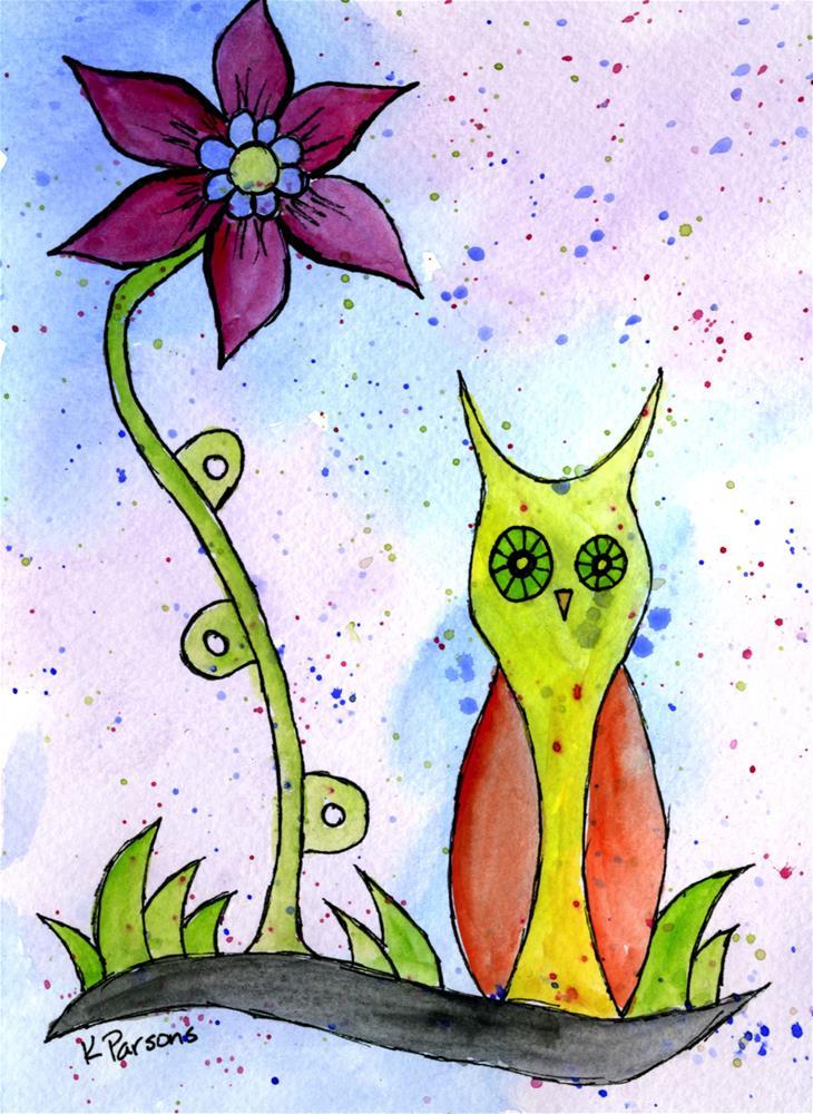 """Hoo Loves this Flower?"" original fine art by Kali Parsons"