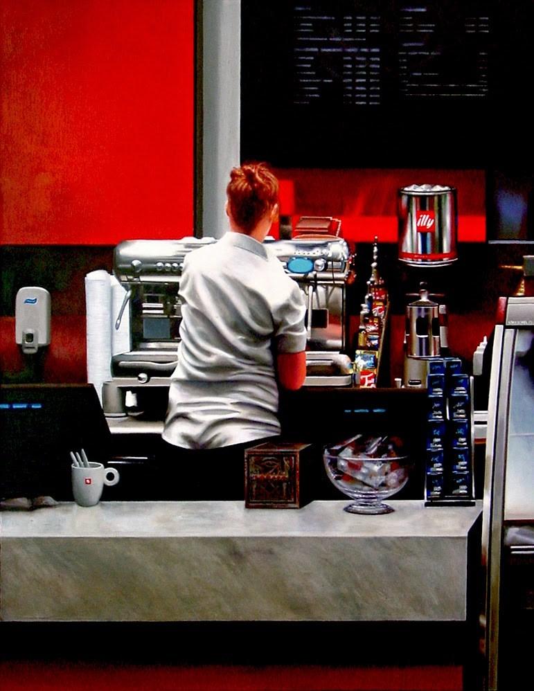 """Coffee Bar- Painting Of Woman Working In Coffee Bar"" original fine art by Gerard Boersma"