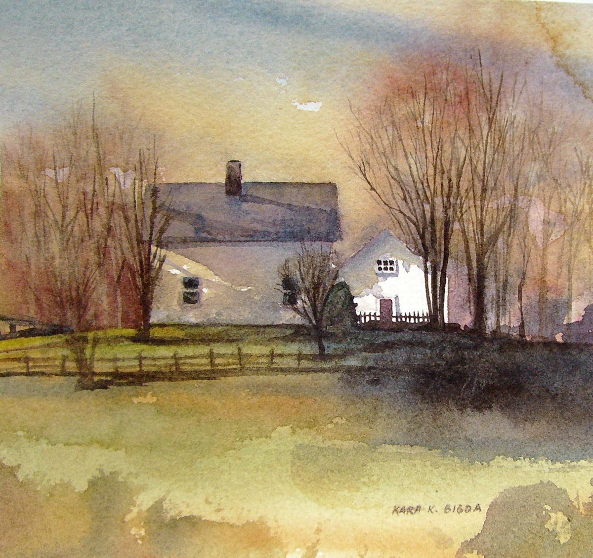 """The White Barn"" original fine art by Kara K. Bigda"