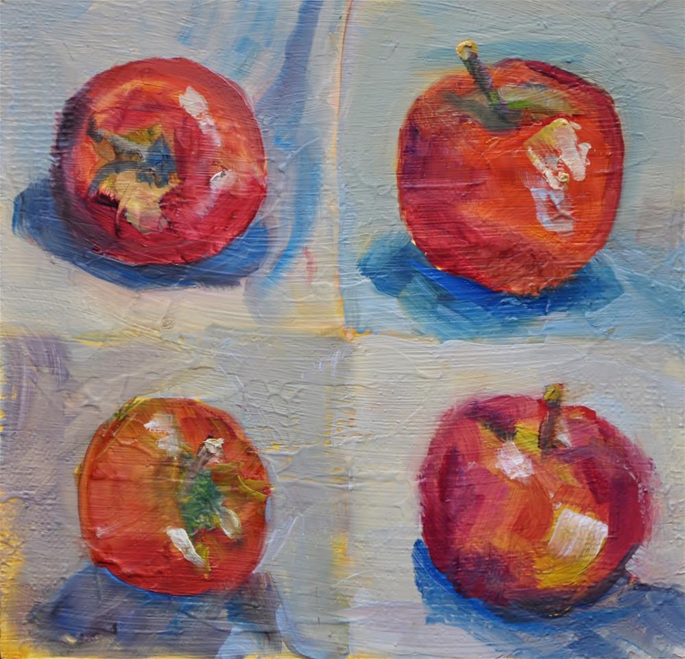 """Apple role around"" original fine art by Catherine Crookston"