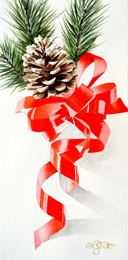 """Christmas Swag"" original fine art by Jacqueline Gnott, TWSA, WHS"