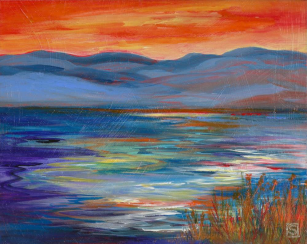 """6053 - Okanagan Sunset"" original fine art by Sea Dean"