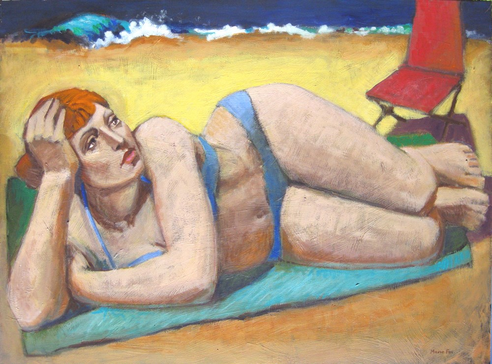 """That Summer Day, figurative painting, woman at beach, ocean, female figuration, bathing suit"" original fine art by Marie Fox"