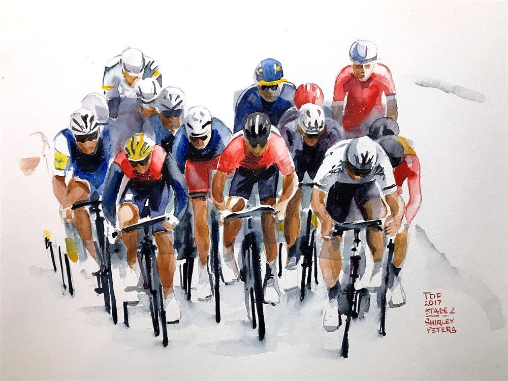 """""""Le Tour de France Stage 2"""" original fine art by Shirley Peters"""